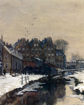 Йохан Хендрик ван Мастенброк. Канал зимой