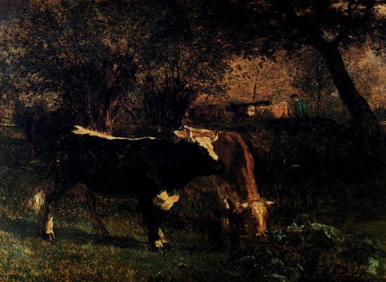 Констант Труайон. Коровы пасутся