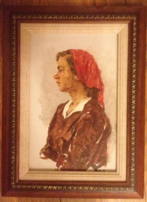 Девушка в красном платке. к/м