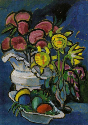 Gabriele Münter. Still life with flowers and Easter eggs