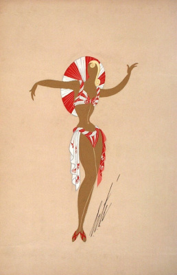 Romain Tirtoff. The sketch of the red-white beach ensemble