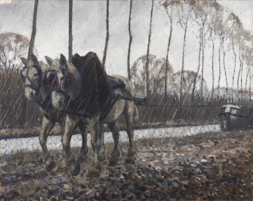 Бернар Буте де Монвель. Перевозка лошадями под дожем