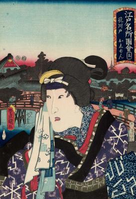 """Утагава Кунисада. Ханакавадо: Актер Оноэ Баико IV в роли Осунэ. Серия """"Портреты и известные места в Эдо"""""""