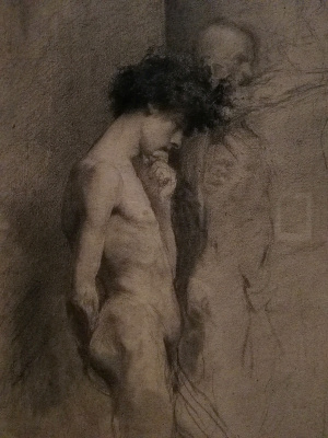 Mariano Fortuni-i-Carbo. The Nude figure of a man in profile, reflecting the sculpture (fragment)