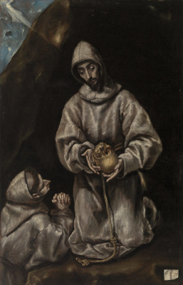 Domenico Theotokopoulos (El Greco). St. Francis and brother Leo meditating on death