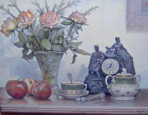 Stepan Vladimirovich Kashirin. Still life with clock and roses