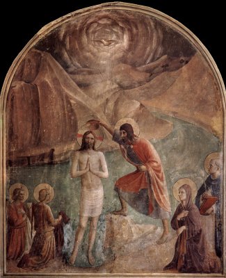Fra Beato Angelico. Baptism of Christ. Fresco of the Monastery of San Marco, Florence