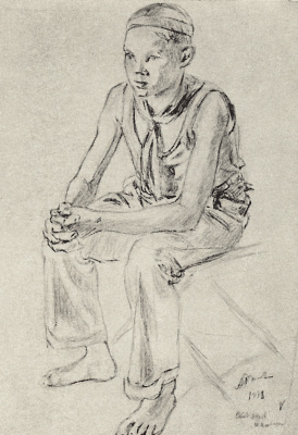"Arkady Alexandrovich Rylov. Boy sitting. Drawing for the painting ""Fire"""