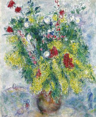 Марк Захарович Шагал. Мимозы в цветочном букете