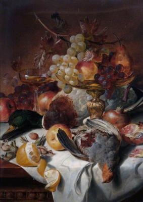 Эдвард Ладелл. Натюрморт с фруктами и птицей