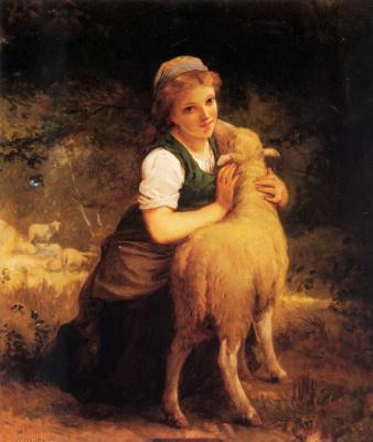 Эмиль Мюнье. Молодая девушка с бараном