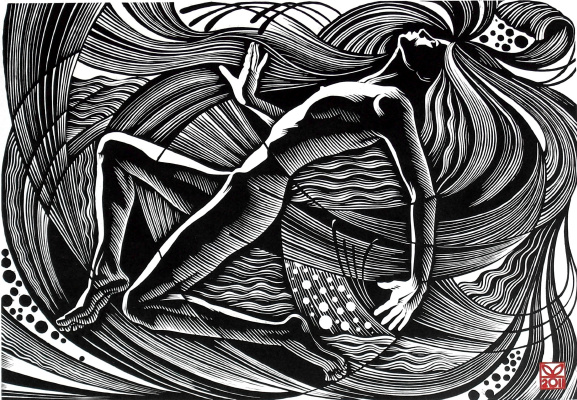 "Vladimir Kataev. ""Gulf-3"", 46 x 66, linocut, 2011"