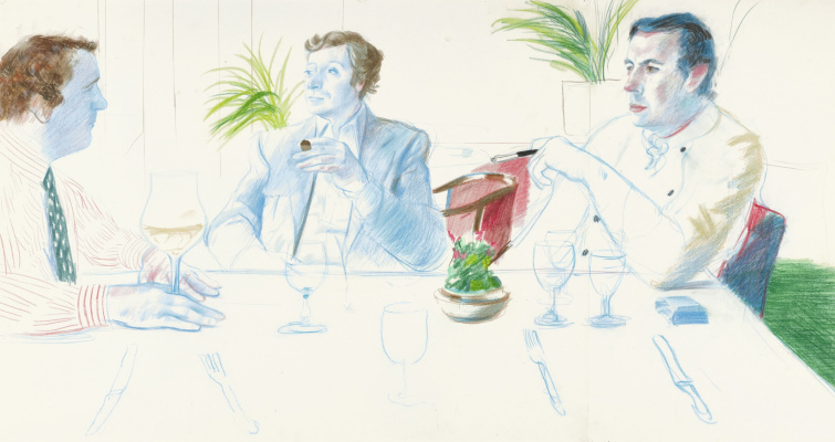 David Hockney. Peter Langan, Michael Caine and Richard Shepherd, Langan's Brasserie