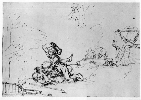 Рембрандт Харменс ван Рейн. Каин убивает Авеля