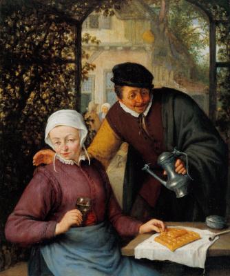 Адриан ван Остаде. Пожилая пара в беседке
