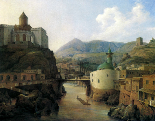 Nikanor Grigorievich Chernetsov. Metekhi castle and Tatar mosque in Tiflis. 1831