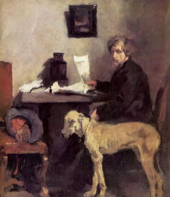 Вильгельм Мария Хубертус Лейбль. Потрет художника Саттлера с догом