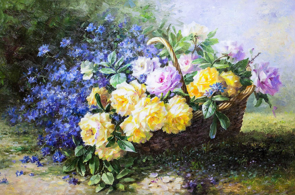 Savely Kamsky. Still life with yellow roses in basket