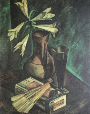 Alexander Alexandrovich Osmyorkin. Still life with lilies and a fan. Collection of S. Schuster and E. Kryukova