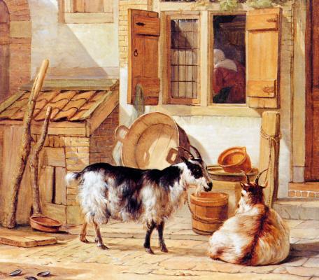 Абрахам ван Стрий. Два козла во дворе
