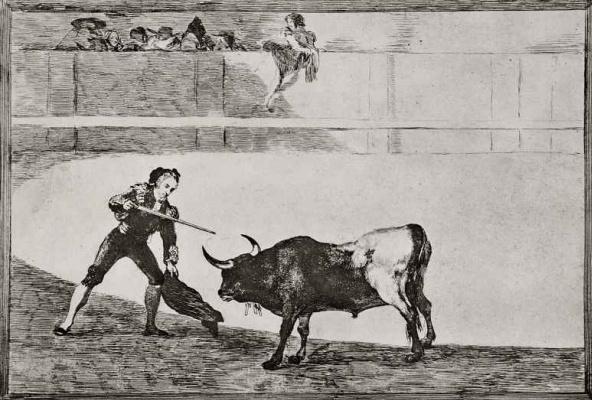 """Франсиско Гойя. Серия """"Тавромахия"""", лист 30: Педро Ромео убивает стоящего быка"""
