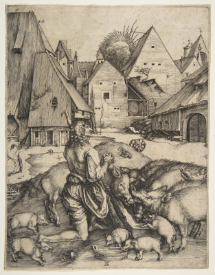 Albrecht Durer. The prodigal son feeding with swine