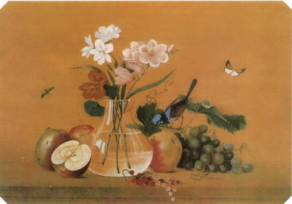 Fedor Petrovich Tolstoy. Flowers, fruits, a bird. Table cover
