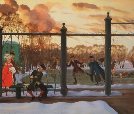 Constantin Somov. Winter. Rink
