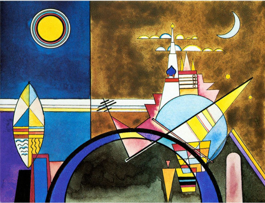 "Wassily Kandinsky. The great gate of Kiev. Decorations to Suite Mussorgsky ""Pictures at an exhibition"" for the Friedrich theatre in Dessau"