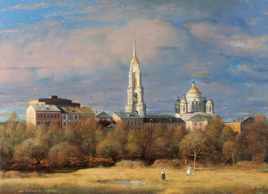 Alexander Victorovich Shevelyov. Badminton. Oil on canvas. 55, 5 x 75 cm 2000