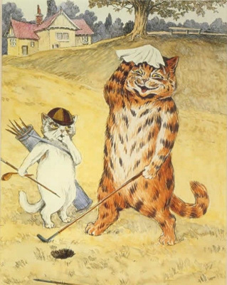 Louis Wain. Cats playing golf
