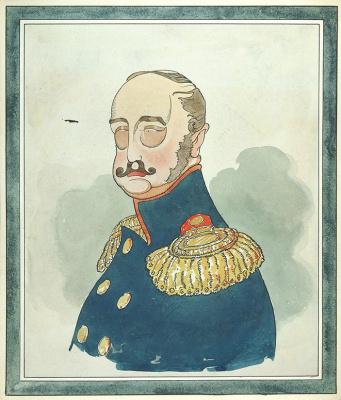 Дмитрий Стахиевич Моор (Орлов). Шаржированный портрет императора Николая I. Ватман, перо