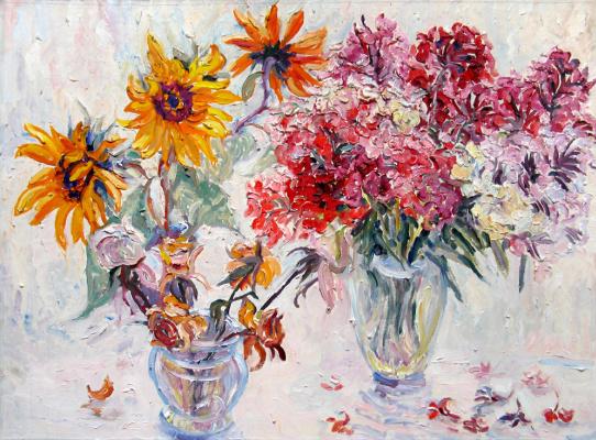 Alexey Vladimirovich Konstantinov. Sunflowers, phlox, roses