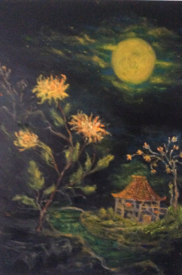Rita Arkadievna Beckman. House in privacy. The moon ... Chrysanthemums ... In addition to them A scrap of a small field (Basia)