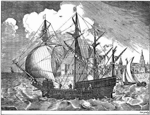 Pieter Bruegel The Elder. Four-masted warship leaving port