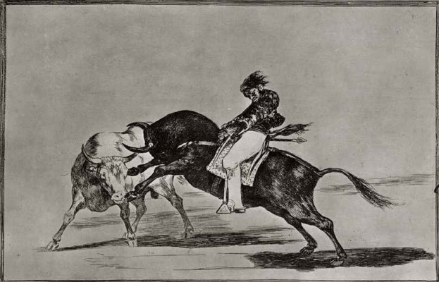 """Francisco Goya. A series of """"Tauromachia"""", sheet 24: The same Ceballos, jumping on another bull, stabs lance in the arena of Madrid"""