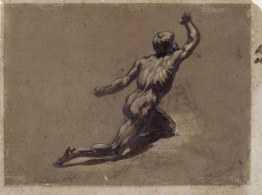 "Théodore Géricault. Sketch nude figure for the painting ""Raft with Medusa"""