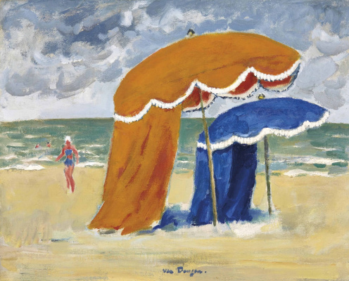 Kees Van Dongen. Umbrellas of Deauville. About 1948