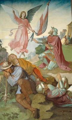 Johann Friedrich Overbeck. The frescoes of the villa Massimo, Tasso Hall: The Archangel Gabriel commands Godfrey of Bouillon to liberate Jerusalem