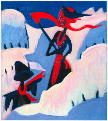 Ernst Ludwig Kirchner. Witch and Scarecrow in snow