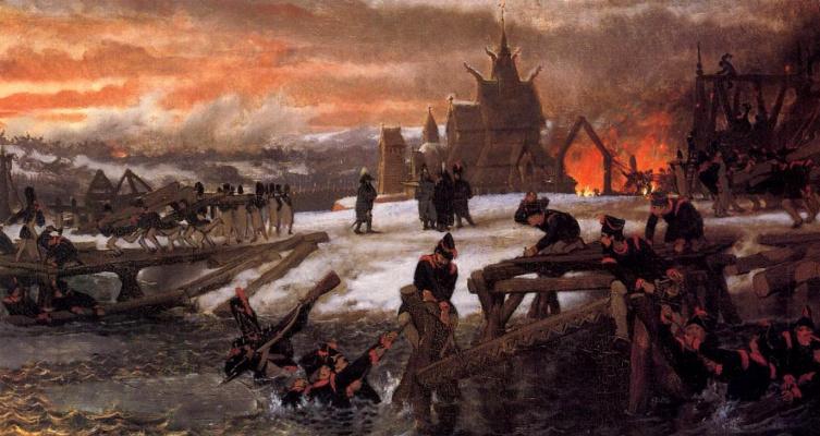 Lawrence Alma-Tadema. The Crossing of the River Berizina - 1812