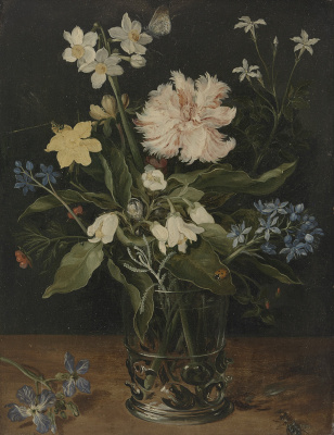Jan Bruegel The Elder. Still life with flowers in a glass vase