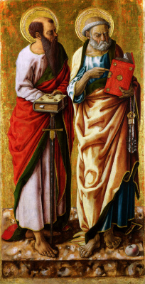 Carlo Crivelli. Saints Peter and Paul. Polyptych Of Porto San Giorgio. The panel on the left.