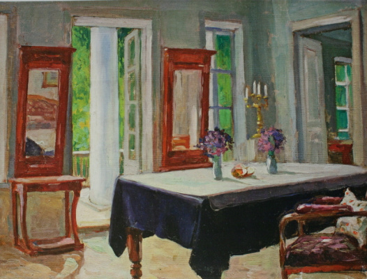 Nikolay Ivanovich Shestopalov. Interior with a black tablecloth. 1910's 40х53