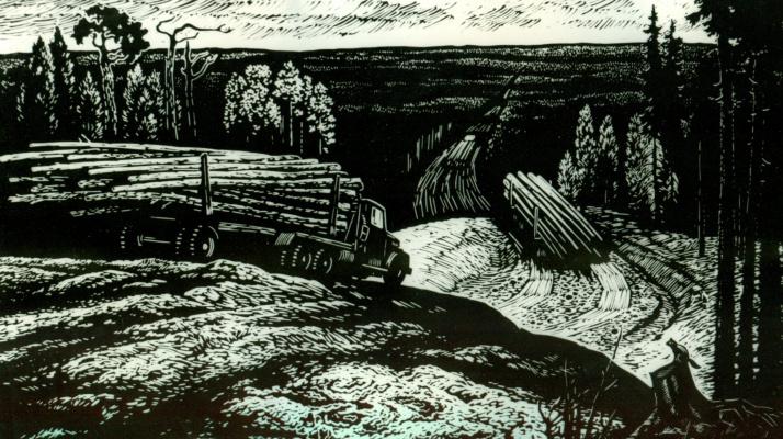 Albert Mikhailovich Tumanov. Timber trucks