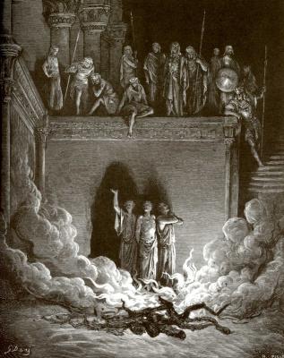 Paul Gustave Dore. Illustration to the Bible: three ladies in a hot oven
