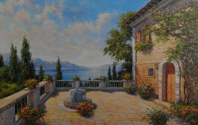 Irina Nikolaevna Borisova. Southern landscape with a fountain.