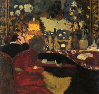 Jean Edouard Vuillard. Misia and Tade Nathanson in front of the tapestry