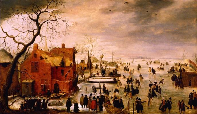 Hendrik Avercamp. Winter landscape and ice-skating
