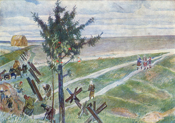 Alexander Alexandrovich Deineka. Farmers are digging anti-tank ditches on the outskirts of Moscow